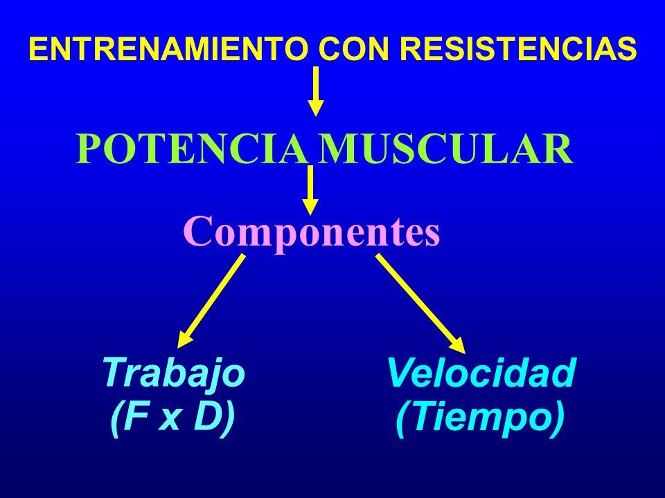 Componentes Trabajo (F x D) POTENCIA MUSCULAR Velocidad (Tiempo) ENTRENAMIENTO CON RESISTENCIAS