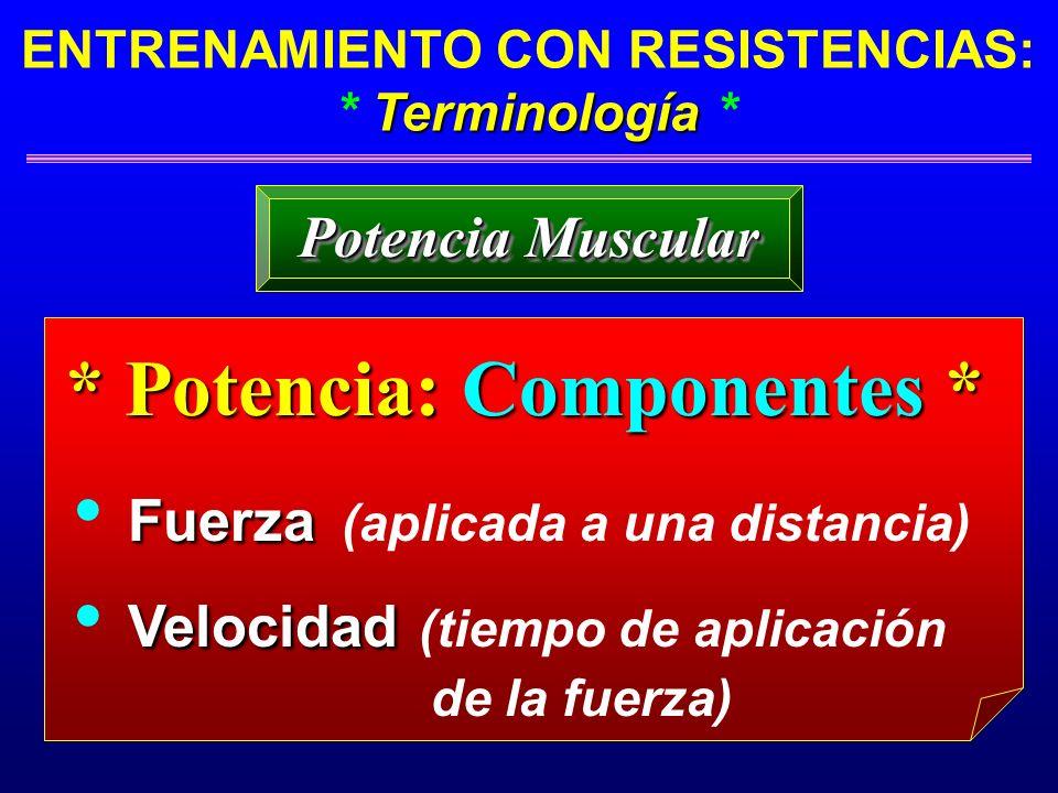 Terminología ENTRENAMIENTO CON RESISTENCIAS: * Terminología * * Potencia: Componentes * Fuerza Fuerza (aplicada a una distancia) Velocidad Velocidad (