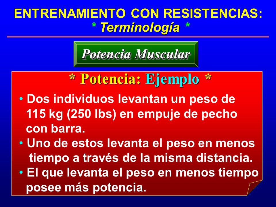 Terminología ENTRENAMIENTO CON RESISTENCIAS: * Terminología * Potencia Muscular * Potencia: Ejemplo * Dos individuos levantan un peso de 115 kg (250 l