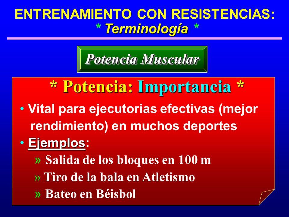 Terminología ENTRENAMIENTO CON RESISTENCIAS: * Terminología * Potencia Muscular * Potencia: Importancia * Vital para ejecutorias efectivas (mejor rend