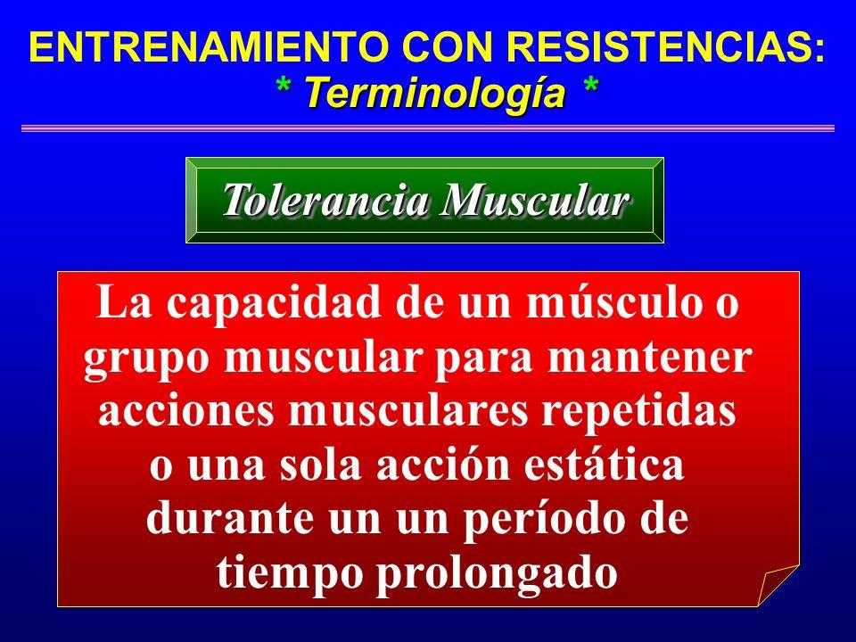 * Terminología * ENTRENAMIENTO CON RESISTENCIAS: * Terminología * Tolerancia Muscular La capacidad de un músculo o grupo muscular para mantener accion