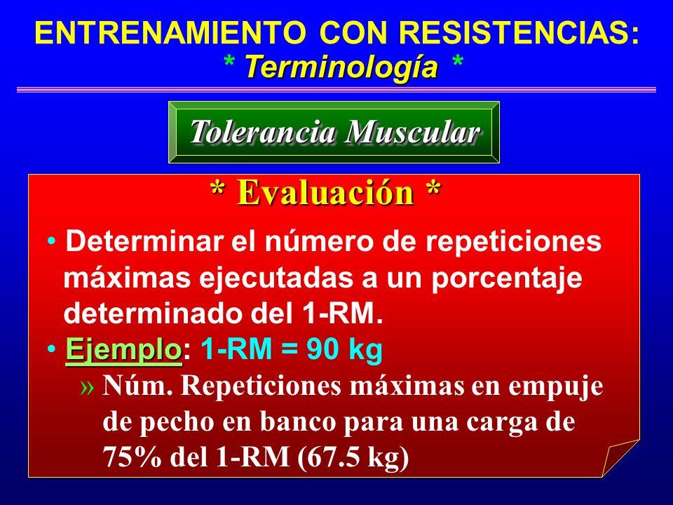 Terminología ENTRENAMIENTO CON RESISTENCIAS: * Terminología * Tolerancia Muscular * Evaluación * Determinar el número de repeticiones máximas ejecutad