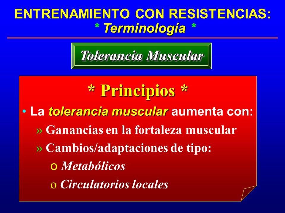 Terminología ENTRENAMIENTO CON RESISTENCIAS: * Terminología * * Principios * tolerancia muscular La tolerancia muscular aumenta con: » Ganancias en la