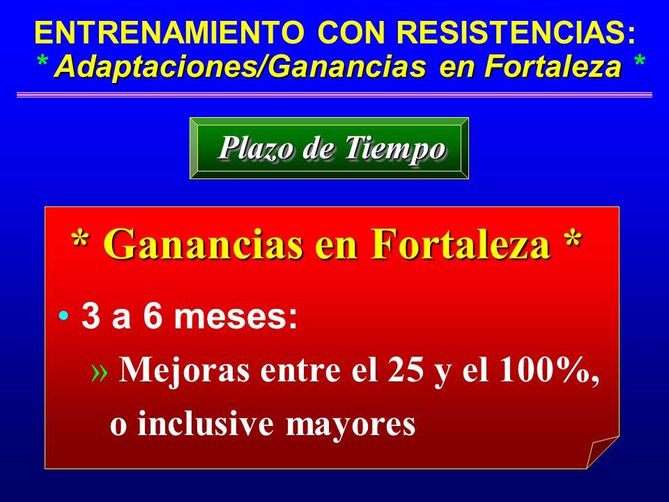 Adaptaciones/Ganancias en Fortaleza ENTRENAMIENTO CON RESISTENCIAS: * Adaptaciones/Ganancias en Fortaleza * * Ganancias en Fortaleza * 3 a 6 meses: »