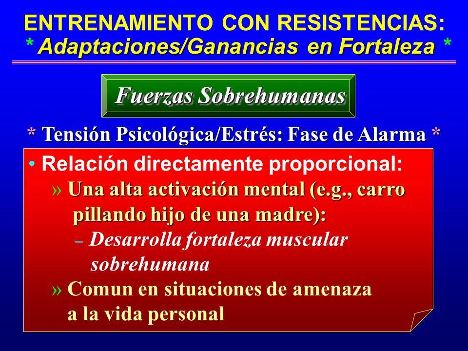 Adaptaciones/Ganancias en Fortaleza ENTRENAMIENTO CON RESISTENCIAS: * Adaptaciones/Ganancias en Fortaleza * * Tensión Psicológica/Estrés: Fase de Alar