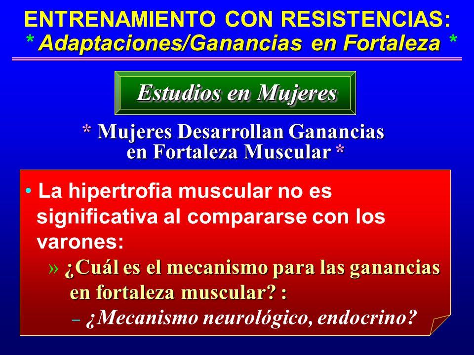 Adaptaciones/Ganancias en Fortaleza ENTRENAMIENTO CON RESISTENCIAS: * Adaptaciones/Ganancias en Fortaleza * * Mujeres Desarrollan Ganancias en Fortale