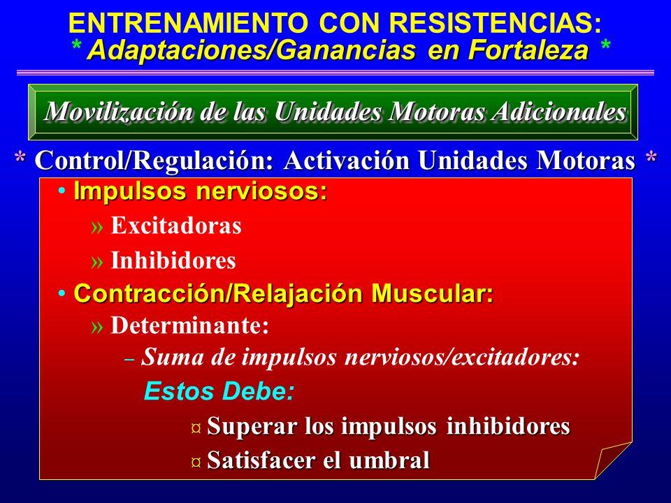 Adaptaciones/Ganancias en Fortaleza ENTRENAMIENTO CON RESISTENCIAS: * Adaptaciones/Ganancias en Fortaleza * * Control/Regulación: Activación Unidades