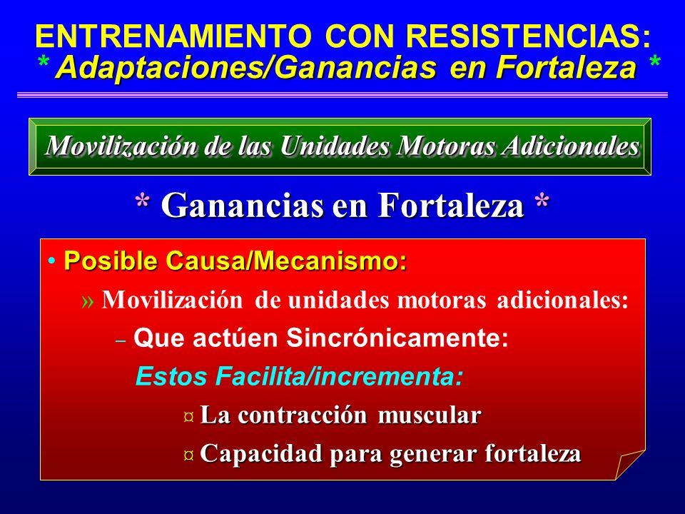 Adaptaciones/Ganancias en Fortaleza ENTRENAMIENTO CON RESISTENCIAS: * Adaptaciones/Ganancias en Fortaleza * * Ganancias en Fortaleza * Movilización de
