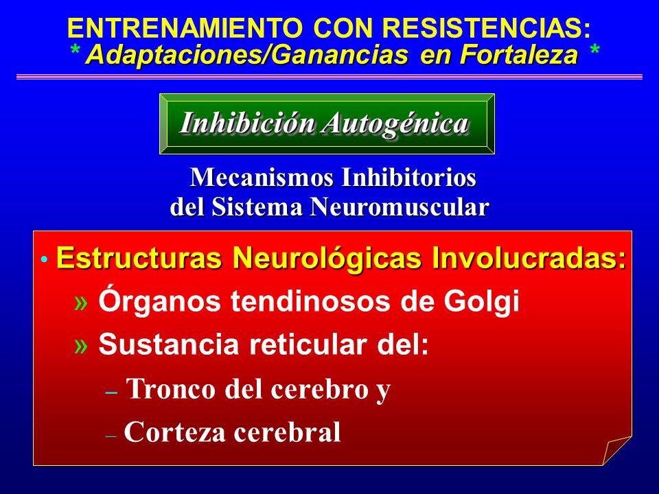 Adaptaciones/Ganancias en Fortaleza ENTRENAMIENTO CON RESISTENCIAS: * Adaptaciones/Ganancias en Fortaleza * Mecanismos Inhibitorios Mecanismos Inhibit