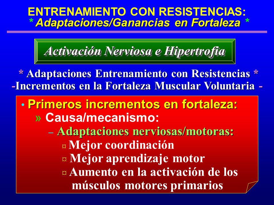 Adaptaciones/Ganancias en Fortaleza ENTRENAMIENTO CON RESISTENCIAS: * Adaptaciones/Ganancias en Fortaleza * * Adaptaciones Entrenamiento con Resistenc