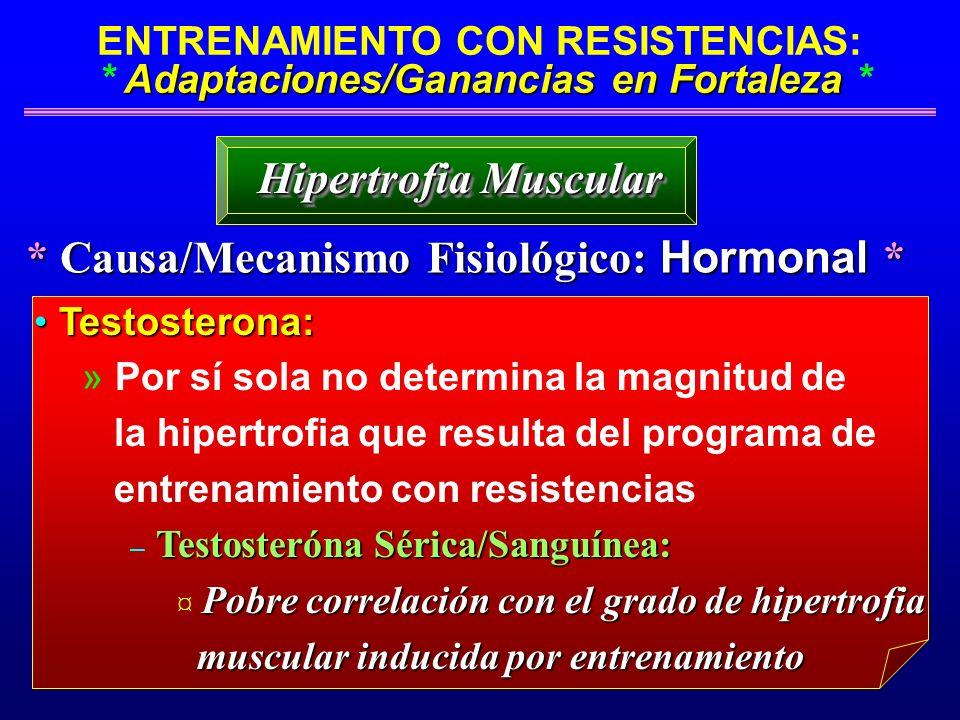 Adaptaciones/Ganancias en Fortaleza ENTRENAMIENTO CON RESISTENCIAS: * Adaptaciones/Ganancias en Fortaleza * * Causa/Mecanismo Fisiológico: Hormonal *
