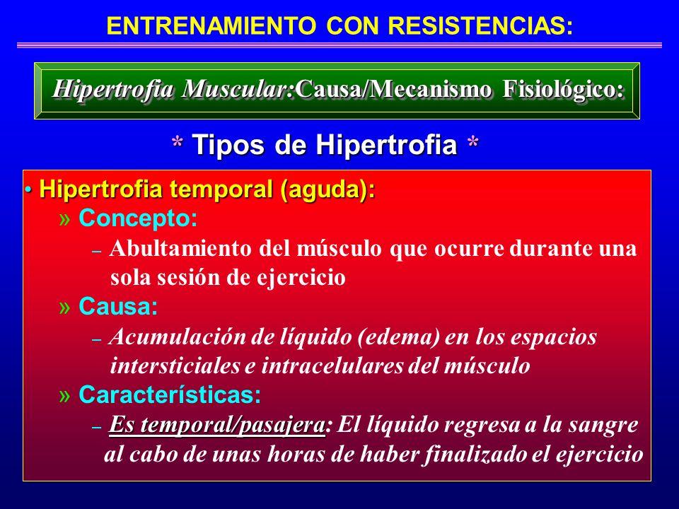 ENTRENAMIENTO CON RESISTENCIAS: * Tipos de Hipertrofia * Hipertrofia Muscular: Causa/Mecanismo Fisiológico: Hipertrofia temporal (aguda): Hipertrofia