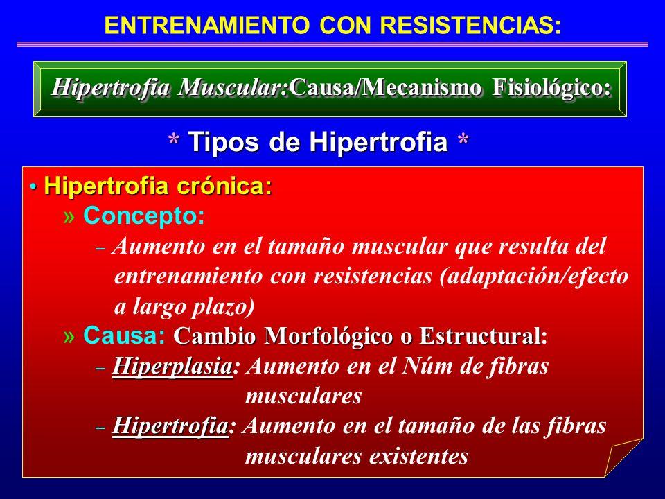 ENTRENAMIENTO CON RESISTENCIAS: * Tipos de Hipertrofia * Hipertrofia Muscular: Causa/Mecanismo Fisiológico: Hipertrofia crónica: Hipertrofia crónica: