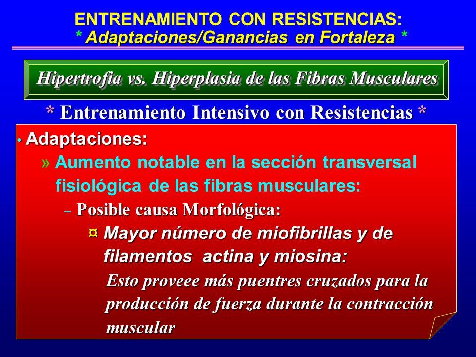 Adaptaciones/Ganancias en Fortaleza ENTRENAMIENTO CON RESISTENCIAS: * Adaptaciones/Ganancias en Fortaleza * * Entrenamiento Intensivo con Resistencias