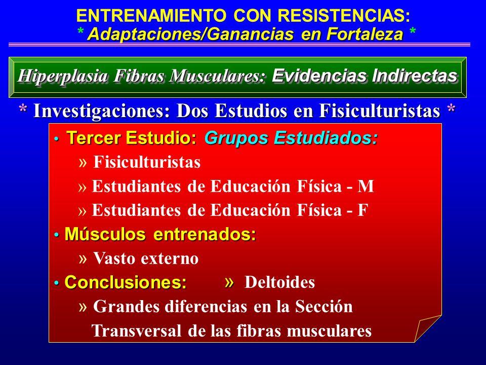 Adaptaciones/Ganancias en Fortaleza ENTRENAMIENTO CON RESISTENCIAS: * Adaptaciones/Ganancias en Fortaleza * Tercer Estudio: Grupos Estudiados: Tercer