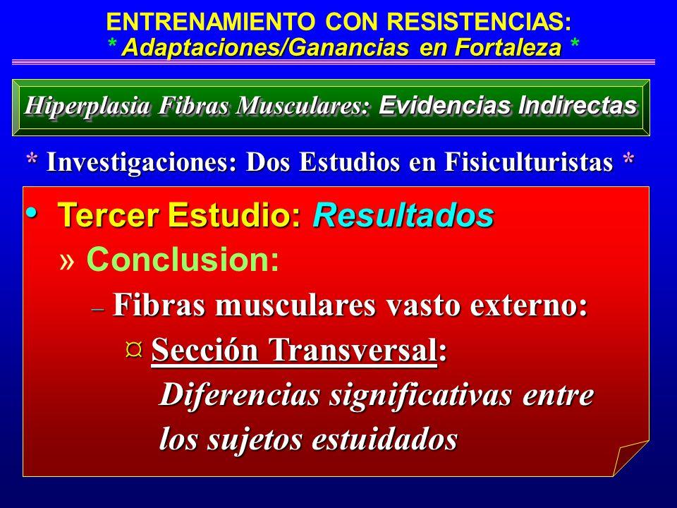 Adaptaciones/Ganancias en Fortaleza ENTRENAMIENTO CON RESISTENCIAS: * Adaptaciones/Ganancias en Fortaleza * Tercer Estudio: Resultados Tercer Estudio: