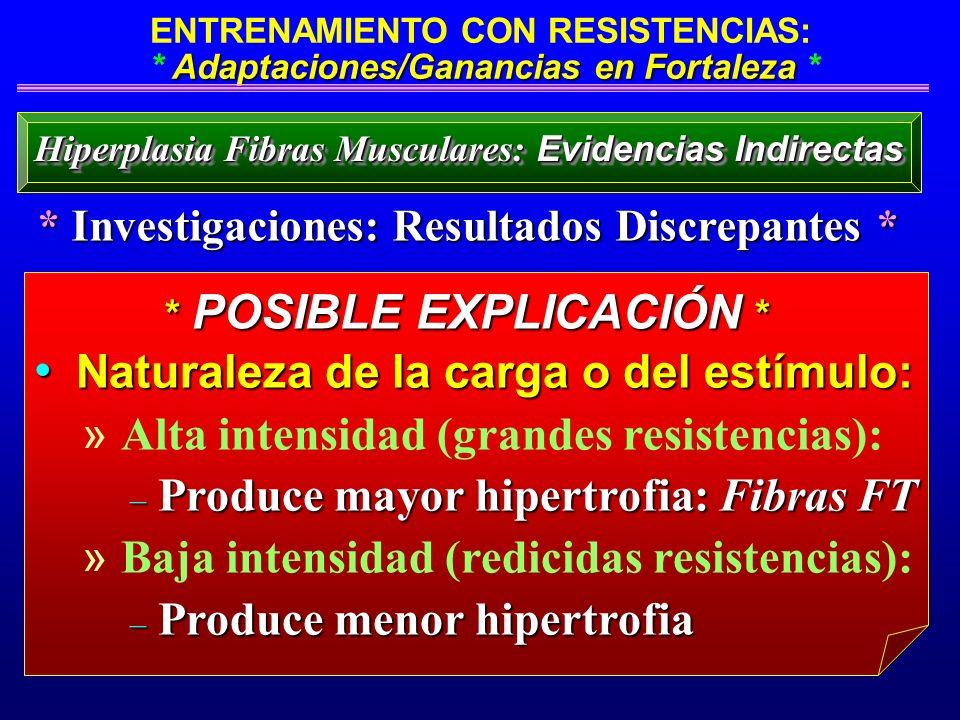 Adaptaciones/Ganancias en Fortaleza ENTRENAMIENTO CON RESISTENCIAS: * Adaptaciones/Ganancias en Fortaleza * Naturaleza de la carga o del estímulo: Nat