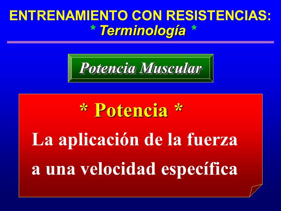 Terminología ENTRENAMIENTO CON RESISTENCIAS: * Terminología * Potencia Muscular * Potencia * La aplicación de la fuerza a una velocidad específica