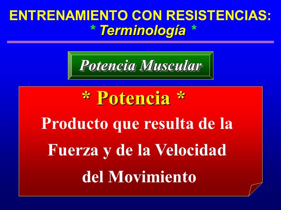 Terminología ENTRENAMIENTO CON RESISTENCIAS: * Terminología * Potencia Muscular * Potencia * Producto que resulta de la Fuerza y de la Velocidad del M