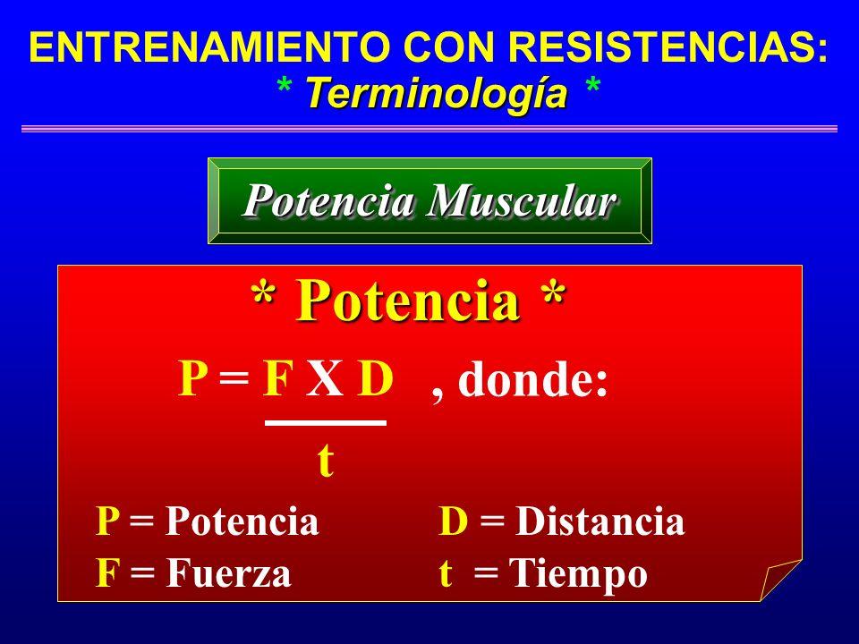 Terminología ENTRENAMIENTO CON RESISTENCIAS: * Terminología * Potencia Muscular * Potencia * P = F X D t, donde: P = Potencia F = Fuerza D = Distancia