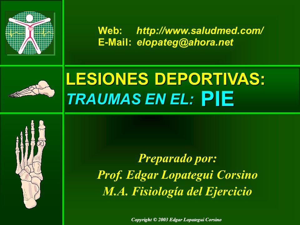 Copyright © 2003 Edgar Lopategui Corsino LESIONES DEPORTIVAS: TRAUMAS EN EL: Preparado por: Prof. Edgar Lopategui Corsino M.A. Fisiología del Ejercici