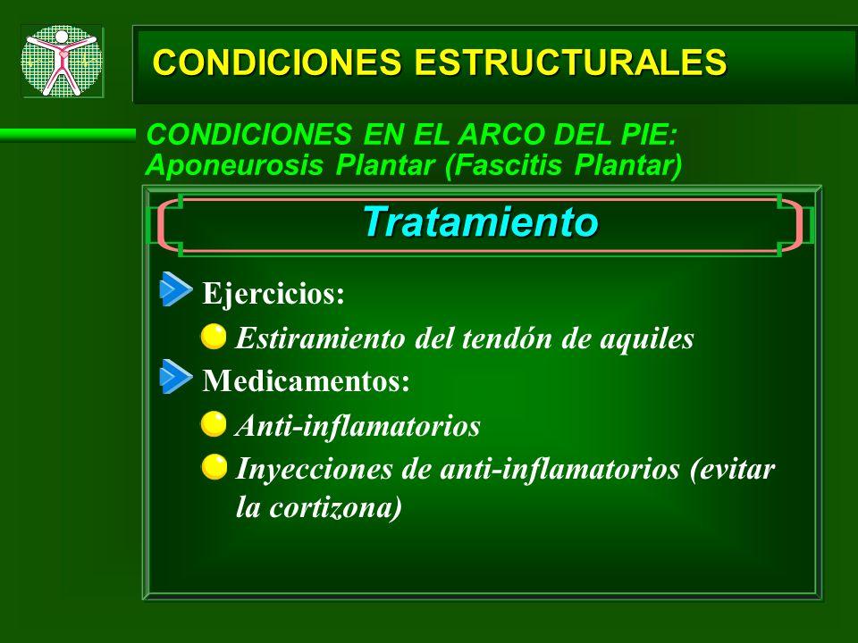 CONDICIONES ESTRUCTURALES CONDICIONES EN EL ARCO DEL PIE: Aponeurosis Plantar (Fascitis Plantar) Tratamiento Ejercicios: Estiramiento del tendón de aq