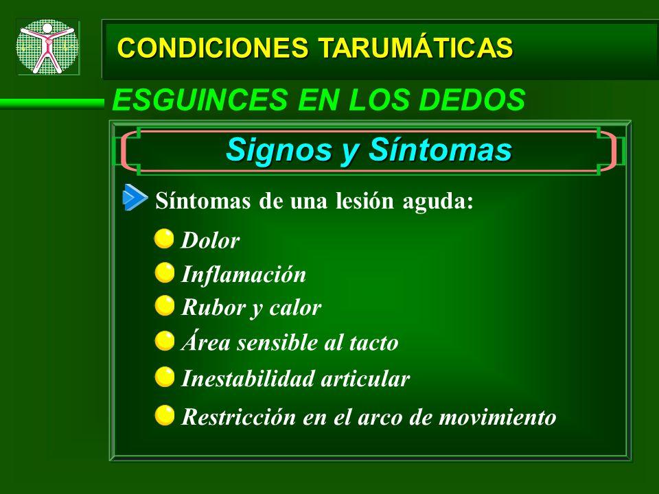 CONDICIONES TARUMÁTICAS ESGUINCES EN LOS DEDOS Signos y Síntomas Síntomas de una lesión aguda: Dolor Inflamación Área sensible al tacto Inestabilidad