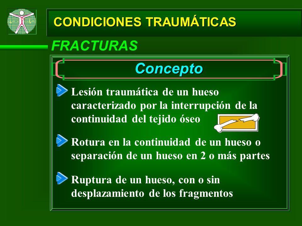 CONDICIONES TRAUMÁTICAS FRACTURAS Concepto Lesión traumática de un hueso caracterizado por la interrupción de la continuidad del tejido óseo Rotura en
