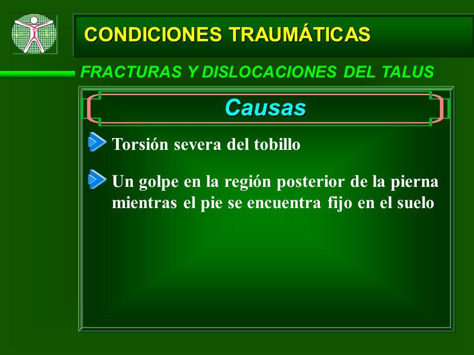 CONDICIONES TRAUMÁTICAS FRACTURAS Y DISLOCACIONES DEL TALUS Causas Torsión severa del tobillo Un golpe en la región posterior de la pierna mientras el
