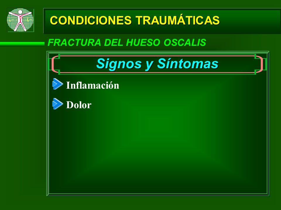 CONDICIONES TRAUMÁTICAS FRACTURA DEL HUESO OSCALIS Signos y Síntomas Inflamación Dolor