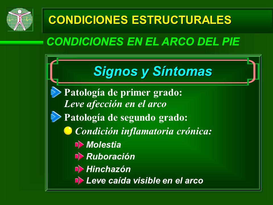 CONDICIONES ESTRUCTURALES CONDICIONES EN EL ARCO DEL PIE Signos y Síntomas Patología de primer grado: Patología de segundo grado: Condición inflamator