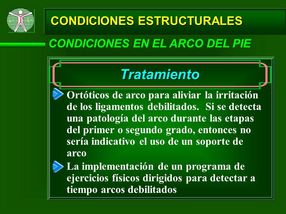 CONDICIONES ESTRUCTURALES CONDICIONES EN EL ARCO DEL PIE Tratamiento Ortóticos de arco para aliviar la irritación de los ligamentos debilitados. Si se