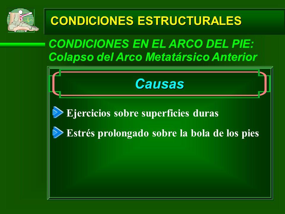 CONDICIONES ESTRUCTURALES CONDICIONES EN EL ARCO DEL PIE: Colapso del Arco Metatársico Anterior Causas Ejercicios sobre superficies duras Estrés prolo