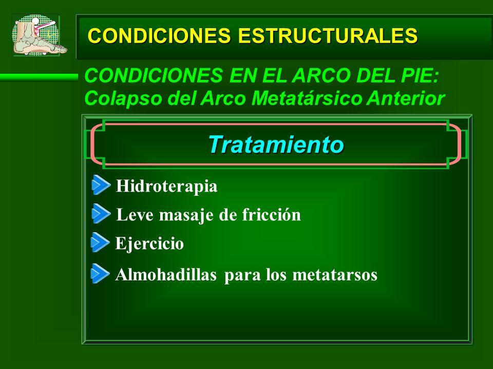 CONDICIONES ESTRUCTURALES CONDICIONES EN EL ARCO DEL PIE: Colapso del Arco Metatársico Anterior Tratamiento Hidroterapia Leve masaje de fricción Ejerc