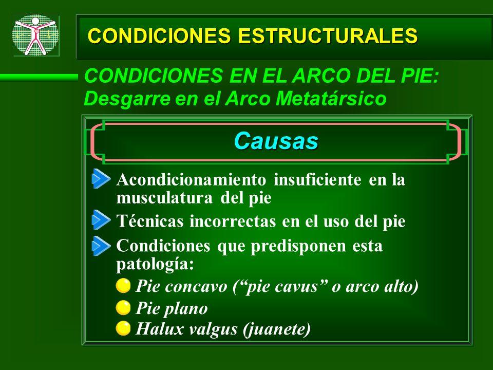 CONDICIONES ESTRUCTURALES CONDICIONES EN EL ARCO DEL PIE: Desgarre en el Arco Metatársico Causas Pie concavo (pie cavus o arco alto) Acondicionamiento