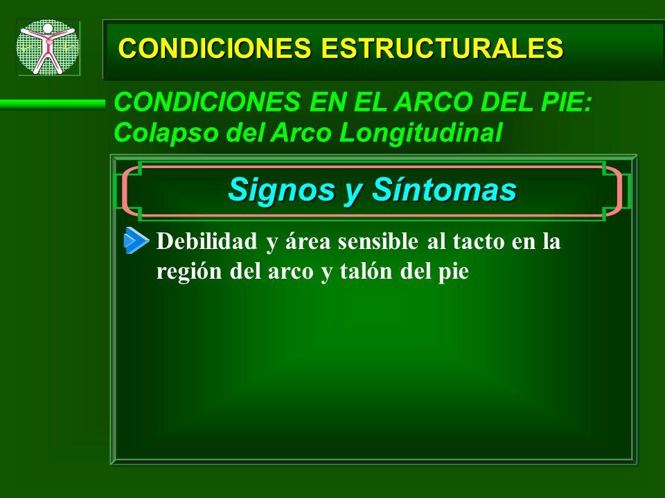 CONDICIONES ESTRUCTURALES CONDICIONES EN EL ARCO DEL PIE: Colapso del Arco Longitudinal Signos y Síntomas Debilidad y área sensible al tacto en la reg