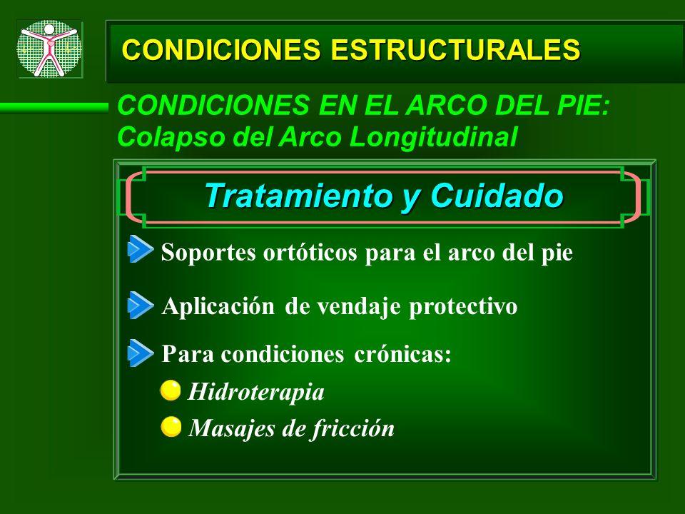 CONDICIONES ESTRUCTURALES CONDICIONES EN EL ARCO DEL PIE: Colapso del Arco Longitudinal Tratamiento y Cuidado Soportes ortóticos para el arco del pie
