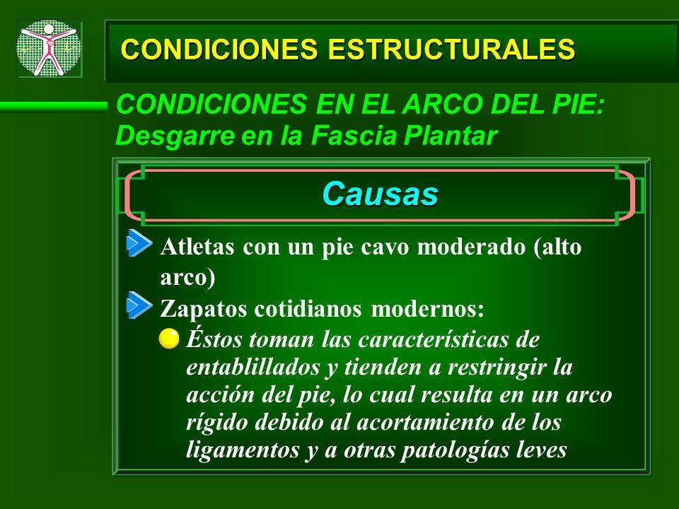 CONDICIONES ESTRUCTURALES CONDICIONES EN EL ARCO DEL PIE: Desgarre en la Fascia Plantar Causas Atletas con un pie cavo moderado (alto arco) Zapatos co