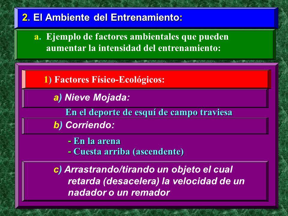 2. El Ambiente del Entrenamiento: a. Ejemplo de factores ambientales que pueden aumentar la intensidad del entrenamiento: 1) Factores Físico-Ecológico
