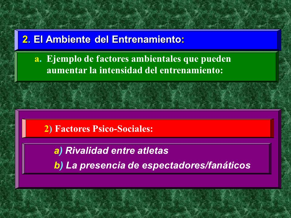 2. El Ambiente del Entrenamiento: a. Ejemplo de factores ambientales que pueden aumentar la intensidad del entrenamiento: 2) Factores Psico-Sociales: