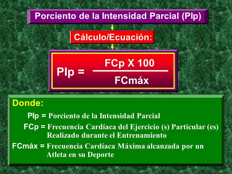 Porciento de la Intensidad Parcial (PIp) Cálculo/Ecuación: PIp = FCp X 100 FCmáx Donde: PIp = Porciento de la Intensidad Parcial FCp = Frecuencia Card