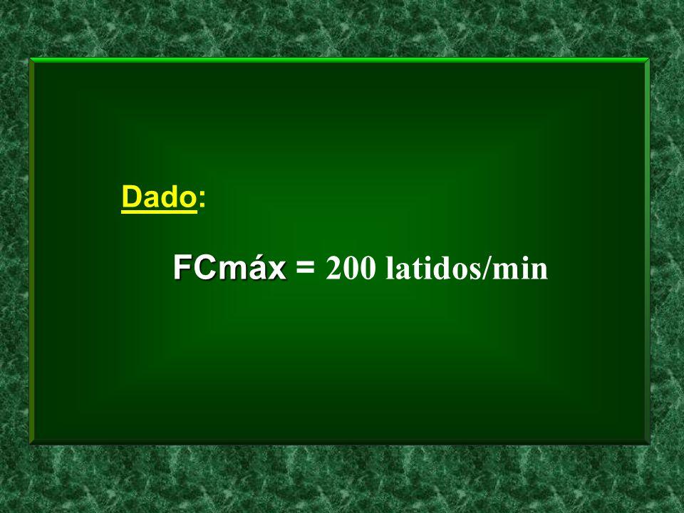 Dado: FCmáx FCmáx = 200 latidos/min