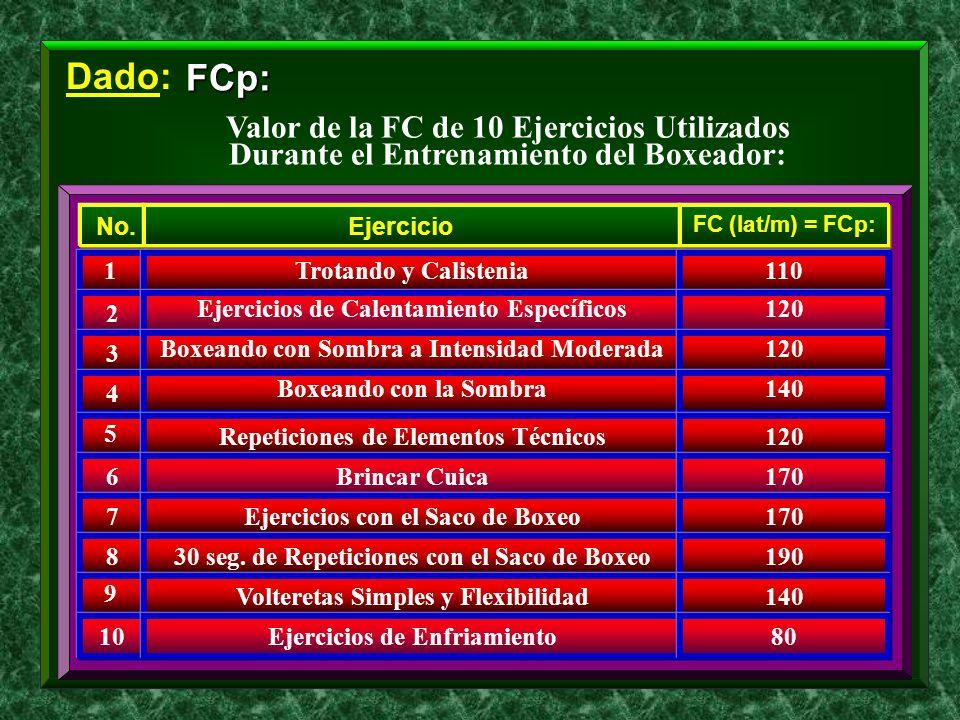 Dado: FCp: Valor de la FC de 10 Ejercicios Utilizados Durante el Entrenamiento del Boxeador: 1 No. 2 3 4 5 6 7 8 9 10 Trotando y Calistenia Ejercicio