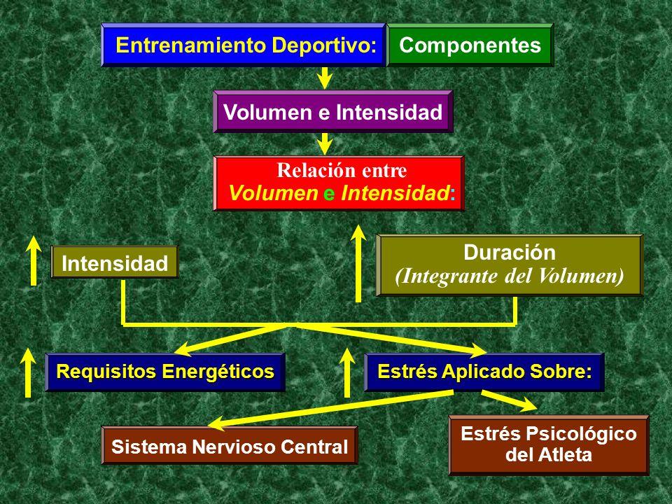 Entrenamiento Deportivo:Componentes Volumen e Intensidad Relación entre Volumen e Intensidad: Intensidad Duración Requisitos Energéticos Estrés Aplica