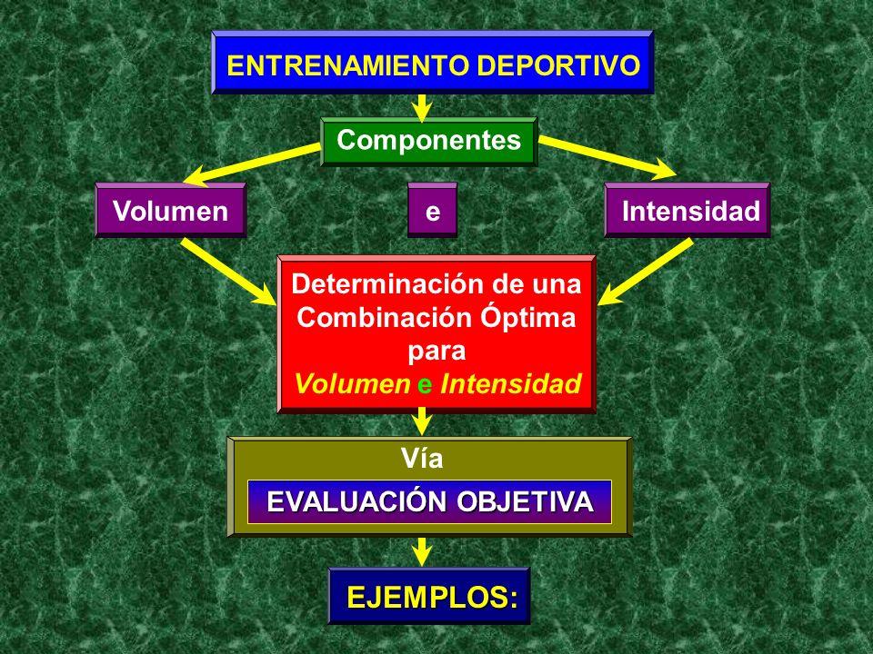 ENTRENAMIENTO DEPORTIVO Componentes VolumenIntensidade Determinación de una Combinación Óptima para Volumen e Intensidad Vía EVALUACIÓN OBJETIVA EJEMP