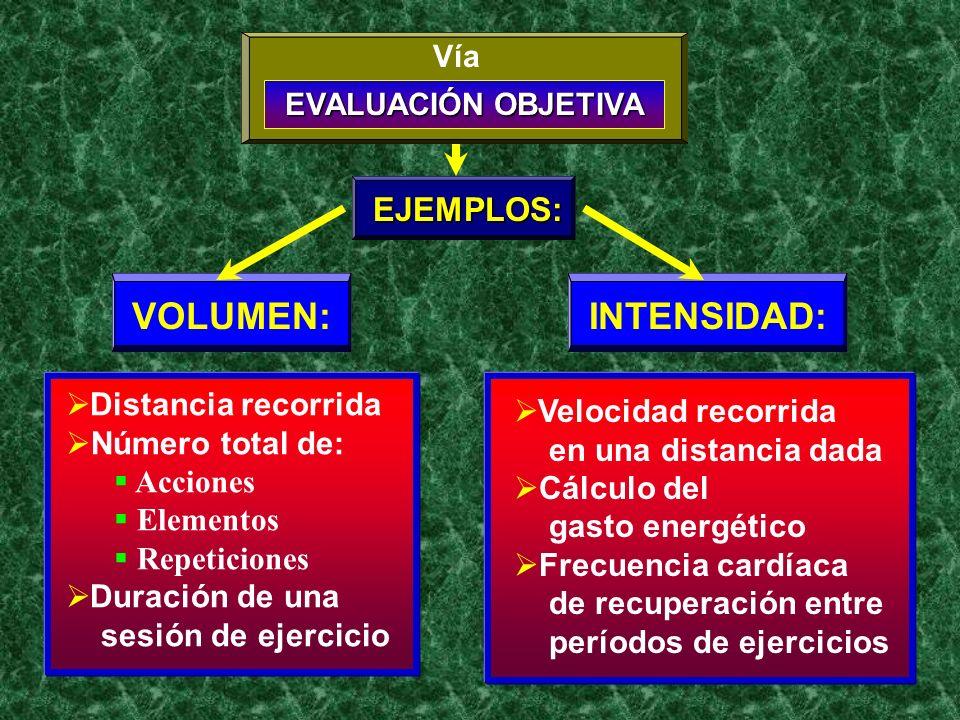 Distancia recorrida Número total de: Acciones Elementos Repeticiones Duración de una sesión de ejercicio Velocidad recorrida en una distancia dada Cál