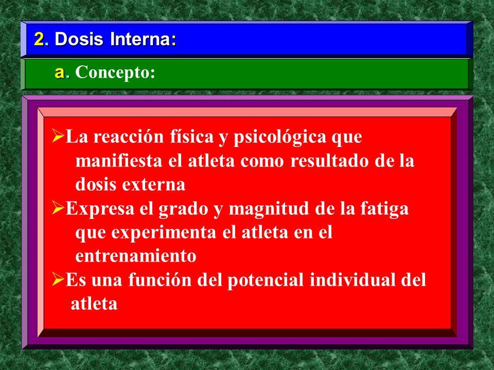 2. Dosis Interna: a. a. Concepto: La reacción física y psicológica que manifiesta el atleta como resultado de la dosis externa Expresa el grado y magn