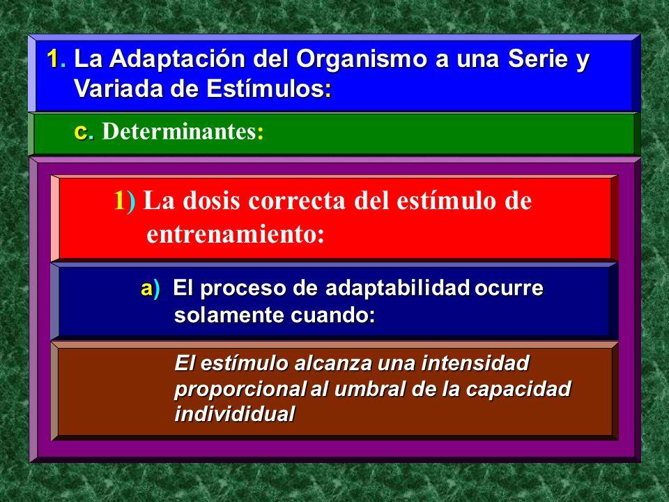 1. La Adaptación del Organismo a una Serie y Variada de Estímulos: Variada de Estímulos: c. c. Determinantes: 1) La dosis correcta del estímulo de ent
