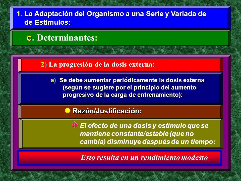 1. La Adaptación del Organismo a una Serie y Variada de de Estímulos: de Estímulos: c. c. Determinantes: 2) La progresión de la dosis externa: a) Se d