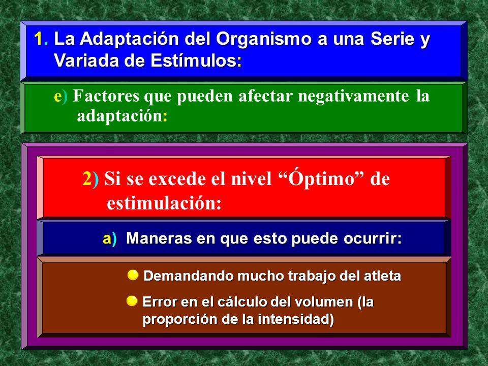 1. La Adaptación del Organismo a una Serie y Variada de Estímulos: Variada de Estímulos: e) Factores que pueden afectar negativamente la adaptación: 2